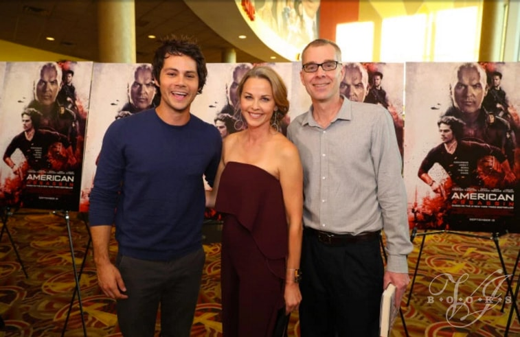 Kyle Mills with American Assassin actor Dylan O'Brien and Lysa Flynn